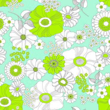outline flower seamless pattern vector