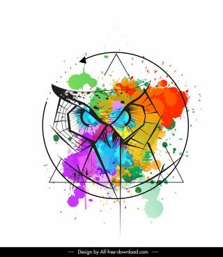 owl animal tattoo template symmetric design grunge decor