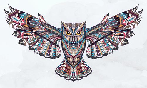 owl ethnic pattern vector