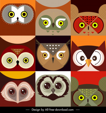 owl faces backgrounds colorful flat symmetric sketch