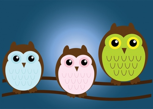 owl family vector illustration with cartoon style