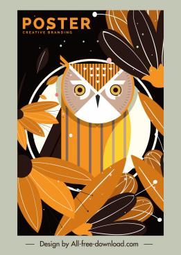 owl flowers poster colored flat retro decor