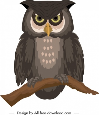 owl icon colored handdrawn sketch perching gesture