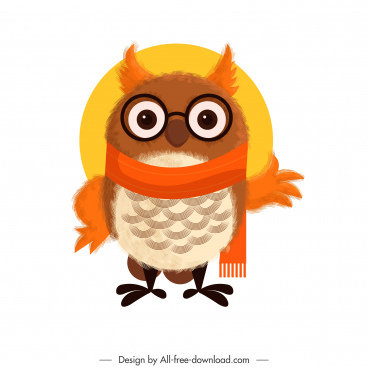 owl icon cute stylized cartoon character sketch