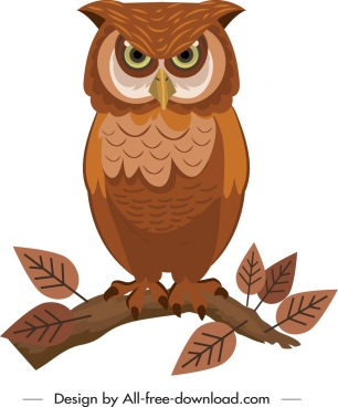 owl icon perching gesture brown decor cartoon sketch
