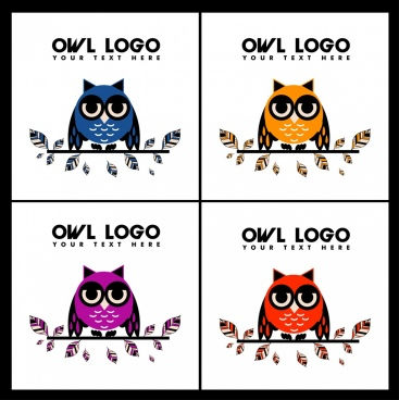 owl logotypes multicolored sketch leaves decoration