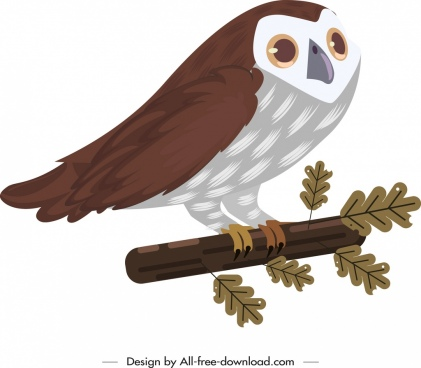 owl painting classical colored cartoon design
