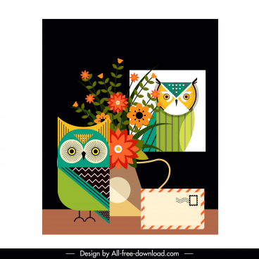 owl painting flowerpot envelope decor colorful flat classic