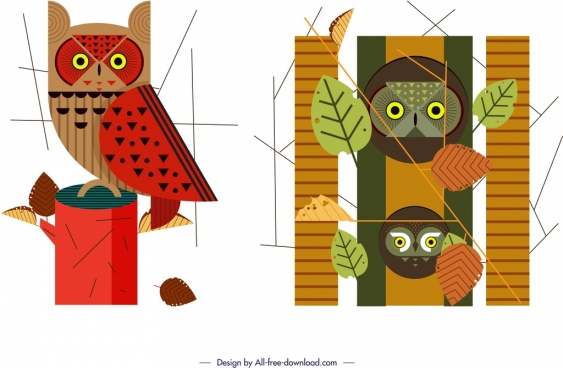 owl wild animal icons colored classical design