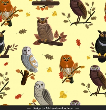 owls animals pattern bright colorful repeating decor