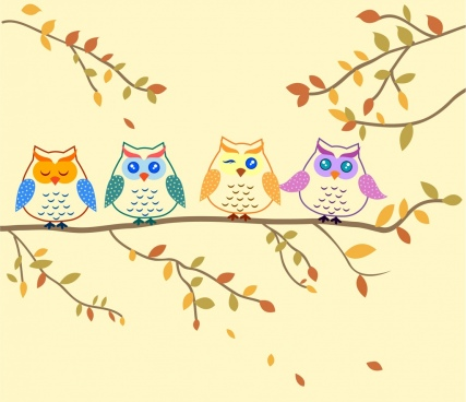 owls background colored hand drawn cartoon sketch