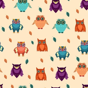owls background colorful repeating design