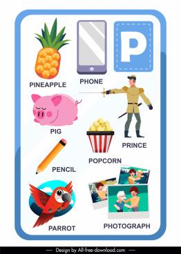 p alphabet educational template colorful flat decor