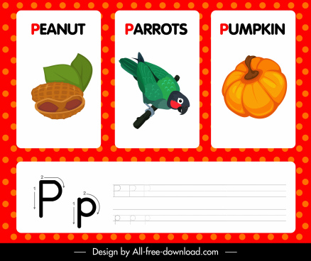 p alphabet study template peanut parrot pumpkin outline