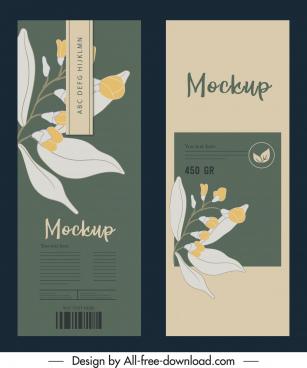 packaging cover template elegant classical botanical decor