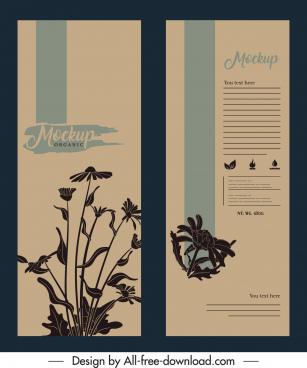 packaging cover templates dark retro design flowers decor