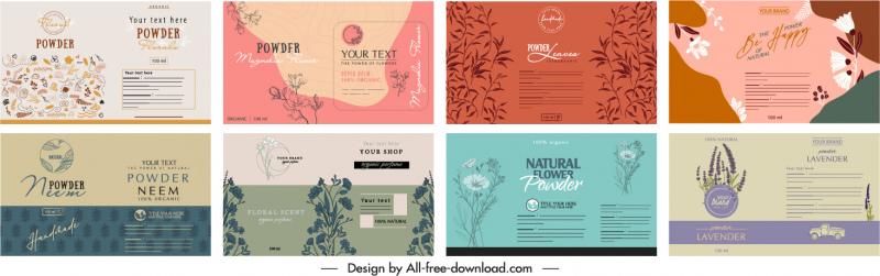 packaging label templates elegant retro nature elements decor