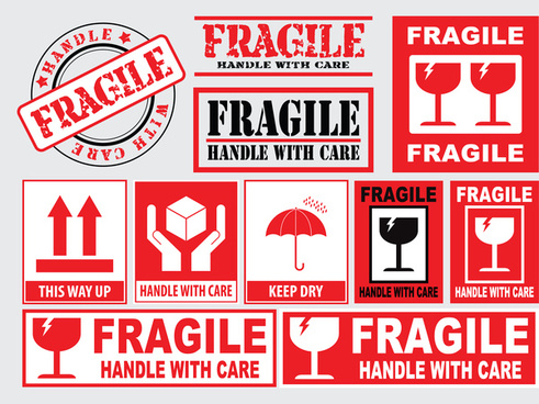 packaging or fragile stickers handle with care this side up keep dry