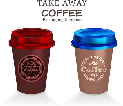 packaging template vector with take away coffee cups