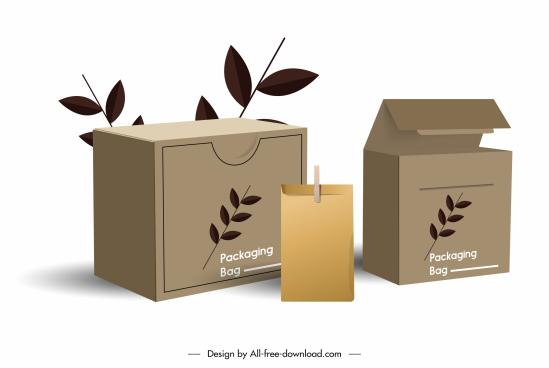 packing bag template elegant classic 3d sketch
