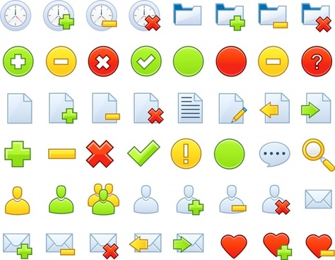 user interface icons collection simple colorful flat shapes