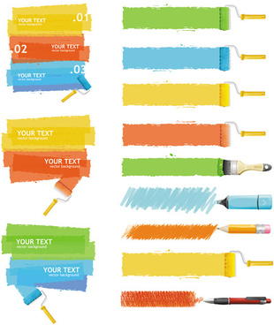 paint and brushes vector graphics