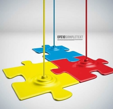 puzzle joints background colored paint drip modern 3d sketch