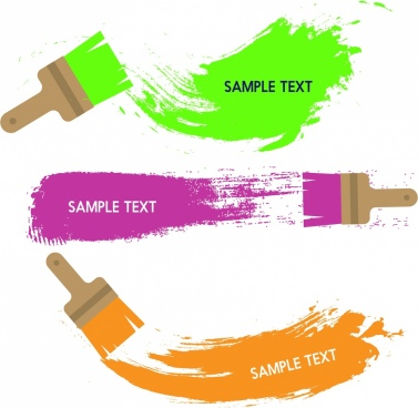 paint brush icons colorful grungy style