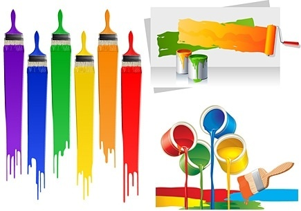 painting work design elements colorful tools decoration