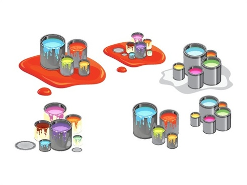 spilling colorful paint cans vector illustration