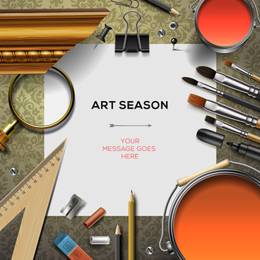 paintbrush and art supplies vector background