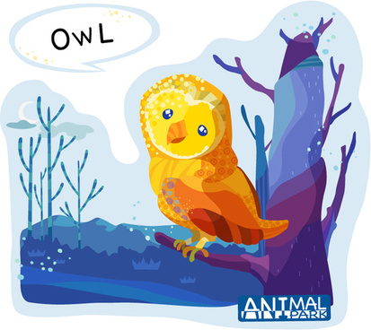 painted owl cartoon vector art
