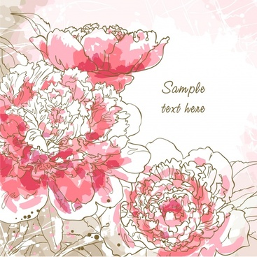flowers card background retro handdrawn sketch