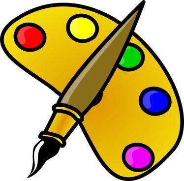 Painter Color Palette With Brush Cartoon clip art