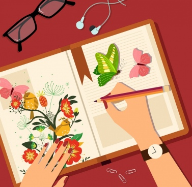 painting art background hand composition book icons