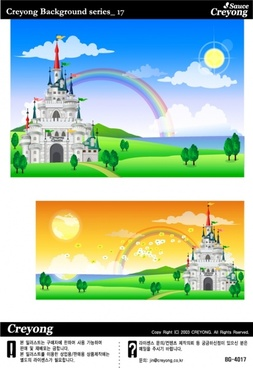 castle background sets rainbow decor vintage colorful decor
