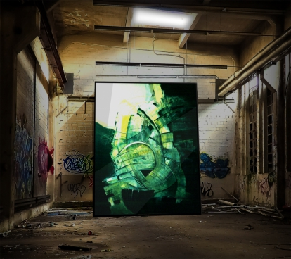 abstract green painting in abandoned dirty room