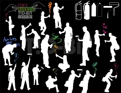 painting figures silhouette vector