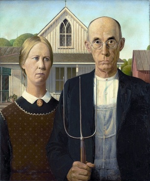painting grant wood man