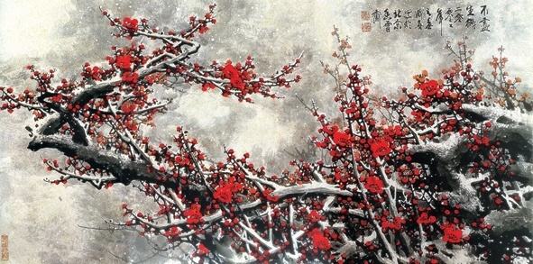 painting plum highdefinition picture