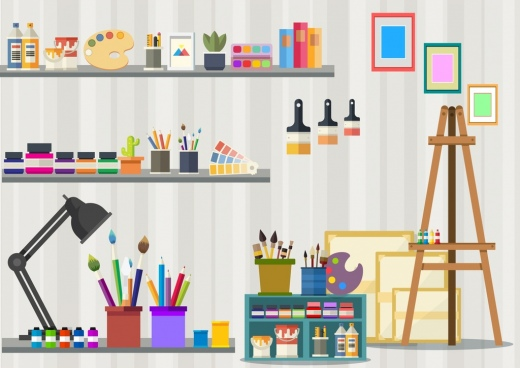 painting room drawing artwork accessories icons static design