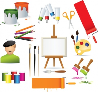 painting work design elements colorful tools symbols