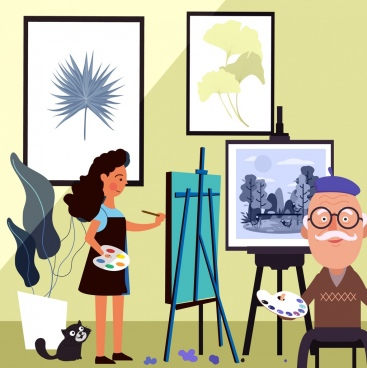 painting work background studio artists icons cartoon design
