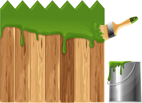 paints with wood wall vector