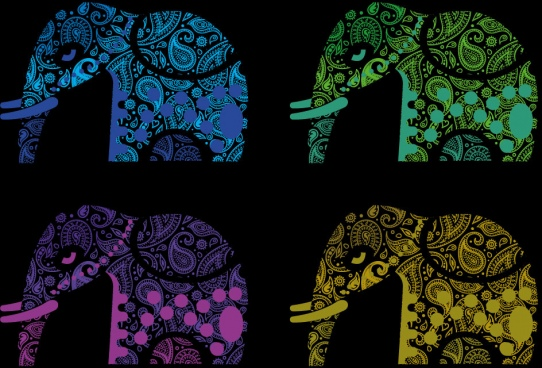 paisley pattern abstract indian elephant vector