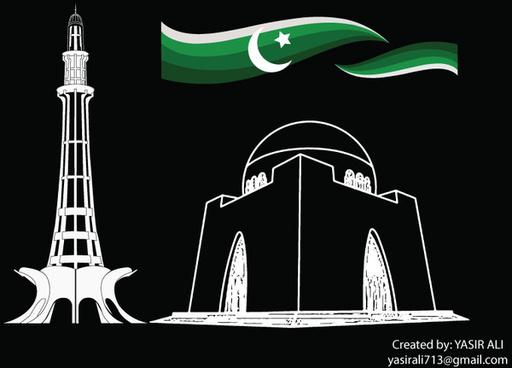Aimant de r/éfrig/érateur Motif monuments du Pakistan