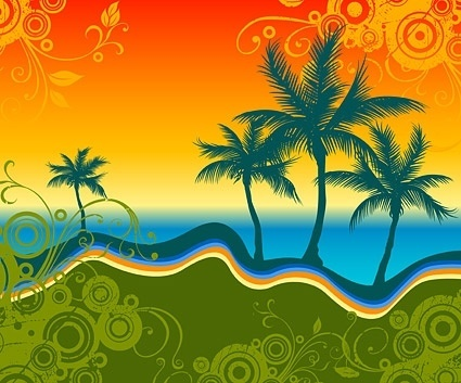 palm beach silhouette with trend pattern vector