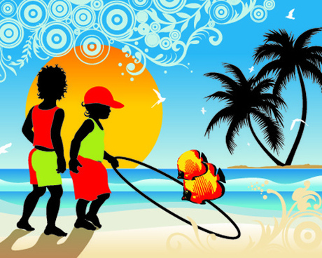 Palm trees with boys travel background vector