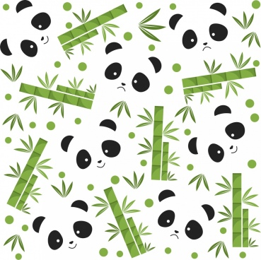 panda bamboo background bear face icons flat repeating