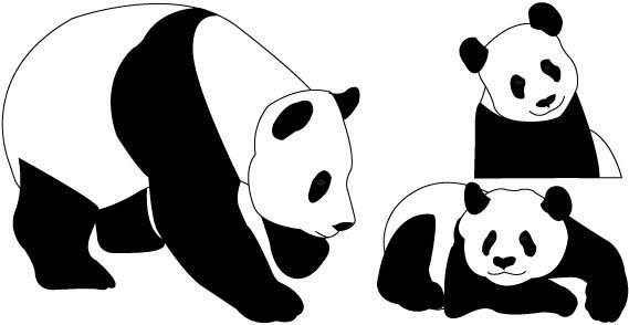 graphic relating to Printable Panda Pictures named Cost-free printable panda endure stencil free of charge vector down load (869